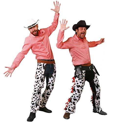 Chaps Set Cowgirl Kostüm - ILOVEFANCYDRESS 2 Cowboys KOSTÜME=2 HEMDE+2 BANDANGER+2 Cowboy Chaps+1 WEIßER Hut+ 1 SCHWARZER Hut+1 PISTOLENGÜRTEL=XL+XXL