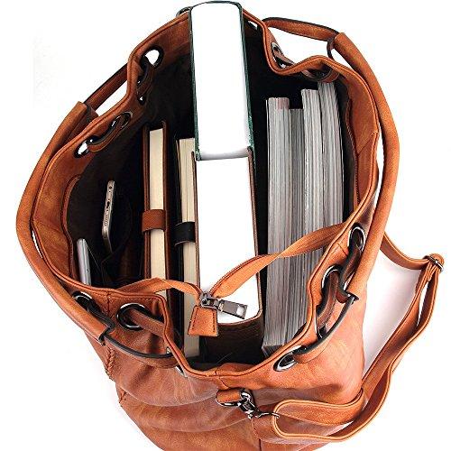 Borsa A Tracolla Da Donna Caseland Borsa A Tracolla Da Donna In Pelle Pu Borsa A Tracolla Con Tracolla Borse Hobo Grandi Capienza (l: 40cm * H: 30cm * W: 19cm) 1-brown