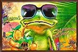 Poster mit Rahmen 61 x 91,5 cm, Wenge (Braun) - Cooler Frosch mit Sonnenbrille gerahmt - Antireflex Acrylglas