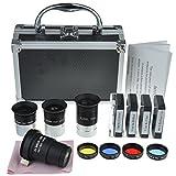 Solomark - Kit di accessori per telescopio astronomico, con set di lenti oculari Plossl, set di filtri, 2 lenti di Barlow e altri strumenti