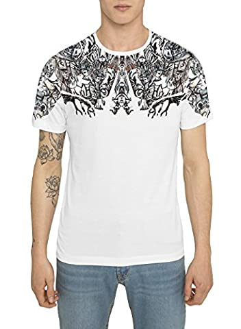 Mens Designer Cool Printed White T Shirt, Luxe Gothic Retro Rock Dark Graffiti Art Print Tees, Crew Neck Cotton Jersey Tee Shirts, London Street Style Tops for Men S M L XL XXL