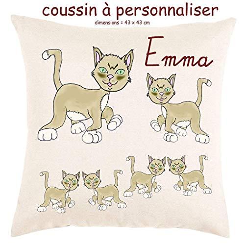 Coussin avec sa Housse Toucher très Doux Chat Personnalisable avec un Prénom Exemple Emma