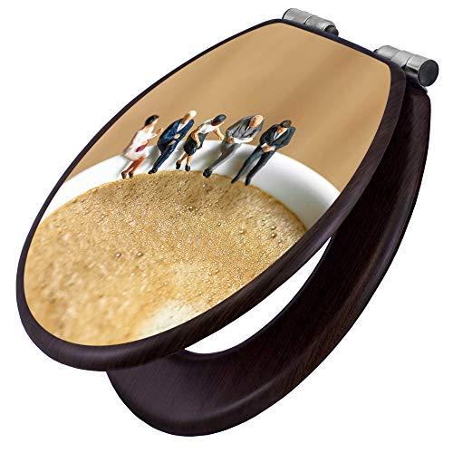 banjado Toilettensitz mit Absenkautomatik | WC-Sitz mit Motiv Kaffeepause | Toilettendeckel MDF Holzkern | Klodeckel mit Metall Scharnieren -