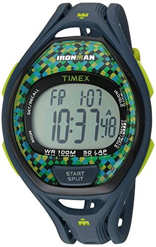 Timex Unisex TW5M07800 Ironman Sleek 50 Full-Size Blue/Lime Resin Strap Watch -