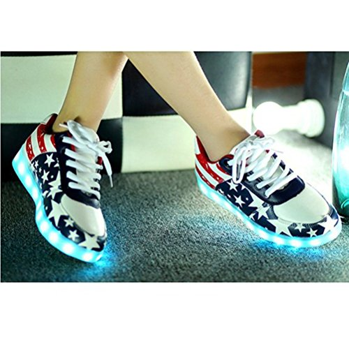 (Présents:petite serviette)JUNGLEST® Ezflora Unisexe Femmes Hommes recharge USB LED Light Up Couples Luminous Sneakers USA Flag course Casual Sh initial
