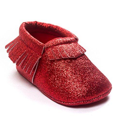 Baby schuhe Jamicy® Baby Lederschuhe Sneaker Anti Rutsch weiche Sohle Kleinkind (0 ~ 4 Monat, Silber) Rot