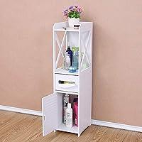 KingSaid Modern Unit Bathroom Furniture Cabinets, White Wood Shelf Storage Rack for Bathroom Bedroom Kitchen Hallway - 78cm x 15.5cm x 15.5cm