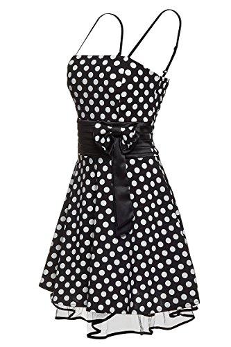 Laeticia Dreams Damen Kleid Petticoat Rockabilly S M L XL Schwarz/Weiß Punkte Medium