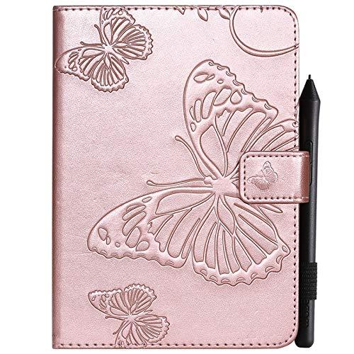 JINXIUCASE Tablethülle, Schmetterlings-Blumen-Blumenmuster PU-Leder-Mappen-Stand-Tablette-Kasten für Amazonas Kindle Paperwhite 4 (10. Generation-2018) 6,0 Zoll (Farbe : Roségold) (10 Leder-tabletten-kasten)