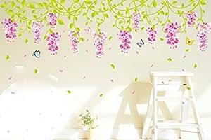 ufengke® Bellissimi Fiori di Glicine Adesivi Murali, Camera da Letto Soggiorno Adesivi da Parete Removibili/Stickers Murali/Decorazione Murale
