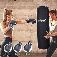Physionics Boxsack Set inkl. Boxsack gefüllt 19 kg, 30/80 cm, Boxhandschuhe Großenwahl (10, 12, 14, 16 oz), mit Stahlketten und Karabinerhaken   Punching Bag   Kickboxen, MMA, Muay Thai, Kampfsport