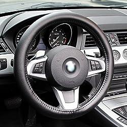Colorfulworld® Universal Lenkradbezug Anti-rutsch-atmungsaktiv Leder Pvc Tpe Lenkradabdeckung Auto , Schwarz, 36.5-37.9 Cm