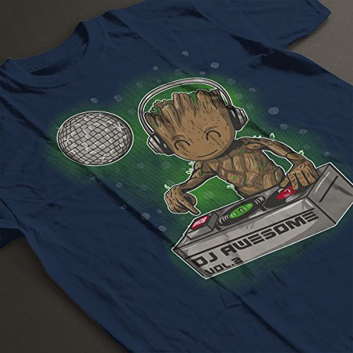 Guardians Of The Galaxy DJ Awesome Baby Groot Men's T-Shirt Navy Blue