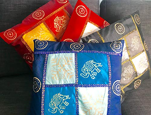 A1SONIC® - Juego de 4 Fundas de Almohada Decorativas de Seda con diseño Indio de Sari, 40 x 40 cm