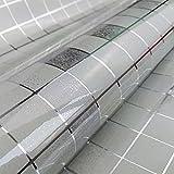 dooxoo 45x 200cm Cocina pvc (Papel de aluminio Self-adhensive mosaico pegatinas Aceite Papel pintado pegatinas de pared espejo de baño impermeable adhesivo de pared, pvc, Gris, mediano