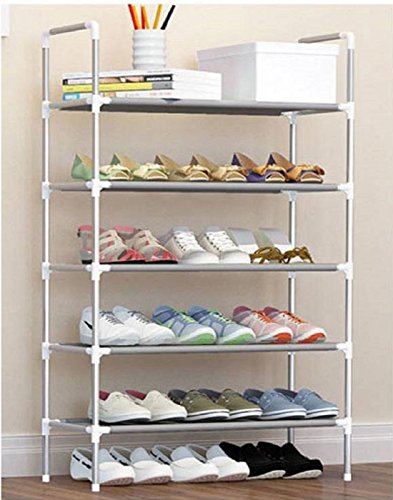 Cmerchants Multipurpose 5 Layer Portable Shoe Rack (Silver)