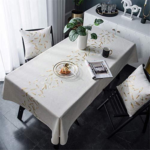 Mambo Kostüm - SONGHJ Baumwolle Leinen Stickerei Blatt wasserdicht Rechteck Esstisch Tuch Tisch Abdeckung Hochzeit Küche Tischdecke A 135x220cm