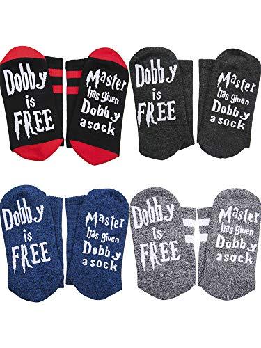 Jovitec 4 Paare Master Has Given Dobby a Sock Dobby Socken Neuheit Lustige Crew Baumwoll Socken für Damen Herren Geschenk
