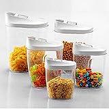 Kurtzy Cereal Rice Pasta Grains Plastic Dispenser Storage Box with Lid 1x1440,960,720,480,300ML- Set