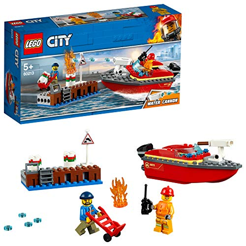 LEGO 60213 City Fire Dock Side Fire Boat Playset, Firefighter minifigure and Acessories, Bath Toys for Kids Best Price and Cheapest