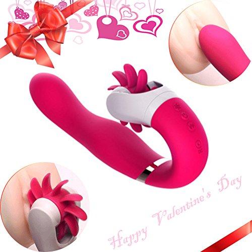 Beyanh Vibratoren für sie,Das Ultimative Vergnügen Zungenlecken Vibrator Massager Klitoris und G-punkt mit stoßfunktion ,Sexspielzeug für Frauen und Paare,Silikon Dildo Massagegerät mit 12 Modus