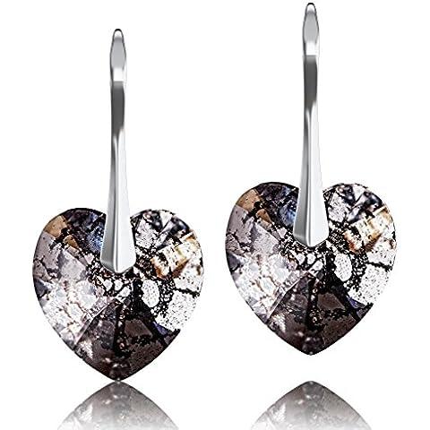 & in argento Sterling 925, colore: nero anticato a forma di cuore con cristalli Swarovski Elements-Orecchini a goccia