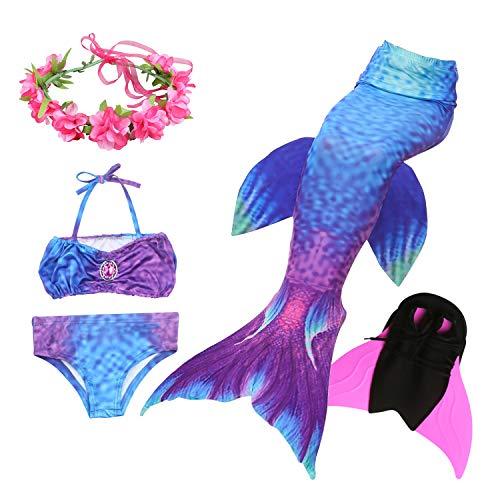 Liebe Kids meerjungfrau Flosse zum Schwimmen 5 Stücke Bikini kostüm für Mädchen Kinder für Cosplay Partei (150, JP99-B06)