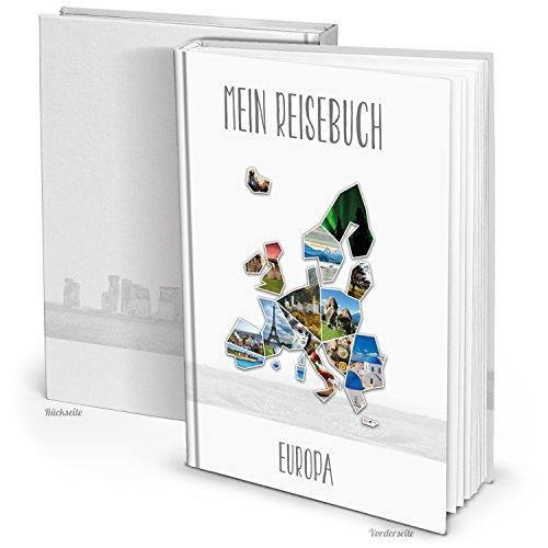 Stylisches XXL Kontinent EUROPA Reisebuch Reisetagebuch Notizbuch, 164 leere Blanko-Seiten DIN A4 zum Selberschreiben, Bilder einkleben, Reiseerlebnisse schreiben. Geschenk Weihnachten, Geburtstag.
