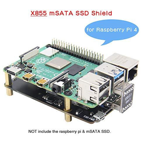 Geekworm Raspberry Pi 4 mSATA Bouclier, Raspberry Pi 4 Modèle B X855 mSATA SSD Carte Extension pour Raspberry Pi 4B