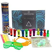 NeonGlo - Kit de fiesta de 220 piezas con brazaletes brillantes, conectores 3D y de bola, pintura facial UV neón, pintauñas, tatuajes temporales, cordones para los zapatos, orejas de conejo con libro de ideas gratuito - Mezcla de colores