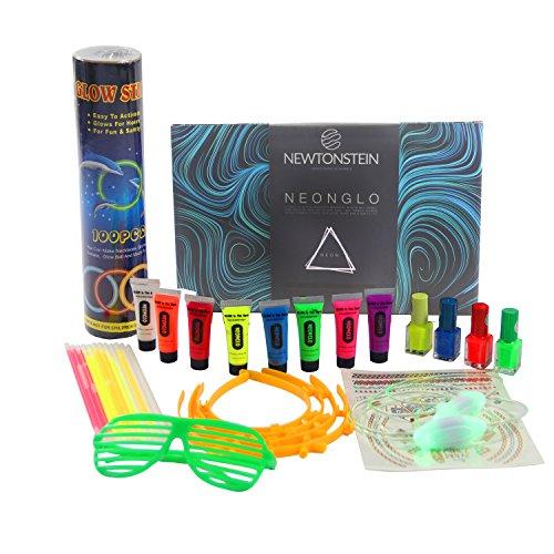 Body-paint-neon (NeonGlo - 220-teiliges Party-Kit mit Leuchtarmbändern, 3D und Leuchtballverbindern, UV Neon-Gesichtsfarbe, Nagellack, Tätowierungsaufklebern, Brillen, Schuhbändern, Hasenohren/ Haarspangen mit kostenloser Ideenbroschüre - verschiedene Farben)