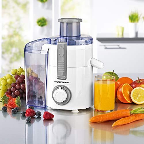 GOURMETmaxx Entsafter   Elektrische Saftpresse für Obst und Gemüse, Juicer mit breiter Einfüllöffnung   [Edelstahl / 250 Watt]