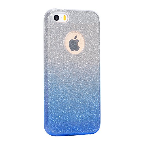 Etsue Glitter Silikon Schutzhülle für iPhone 6 Plus/6S Plus TPU Case, Bling Glitter Abnehmbare ultradünne Galvanotechnik TPU Bumper Case Sparkles Glänzend Glitzer Silikon Crystal Case Durchsichtig Sof Gradient,Blau