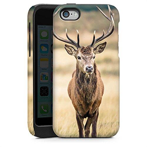 Apple iPhone SE Housse Outdoor Étui militaire Coque Cerf Forêt Animal Cas Tough brillant
