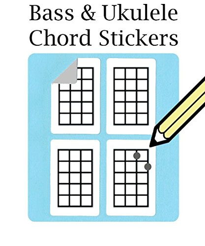Bass, Ukulele Chord und Tabulaturen Griffweise Aufkleber (500Pack)