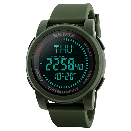 SKMEI Digital Outdoor Sports Watches for Men Survival Compass Watch Waterproof Diving Military Wristwatch Men Gift (army green)