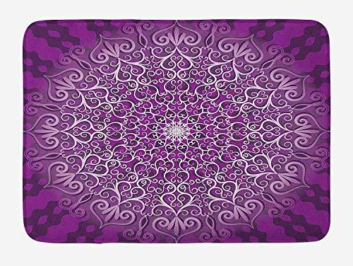 Purple Mandala Bath Mat, Round Stylized Tibetan Healing Cosmos Spiritual Yoga Growth Tattoo Image, Plush Bathroom Decor Mat with Non Slip Backing, 23.6 W X 15.7 W Inches, White Purple
