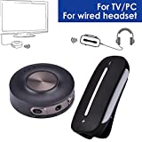 Avantree Set preconfigurato di trasmettitore Audio senza fili e Ricevitore per TV, PC con tecnologia aptX a BASSA LATENZA, Bluetooth per cuffie / altoparlanti con filo, Dual Link, VOIP, BT 4.2 -HT3187