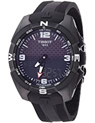 Tissot Reloj de hombre cuarzo analógico correa de silicona caja de acero dial negro T0914204705701