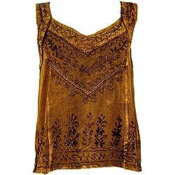 GURU-SHOP, Top Hippie Indio Bordado, Blusa Corta Boho-Chic, Marrón, Sintético, Tamaño:40, Camisetas, Camisetas, Camisetas