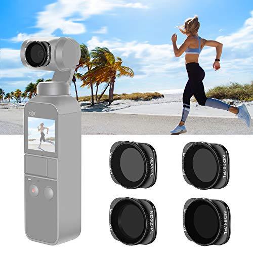 Neewer Magnetisches ND / PL-Filterset für DJI Osmo Taschen-Kamera-4 Stück, ND8 / PL, ND16 / PL und ND32 / PL ND64 / PL-Filter, aus optischem Glas und Aluminium-Flugrahmen (Schwarz)