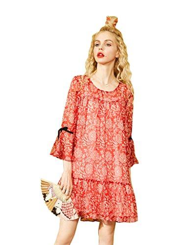 Elf Sack Womens Sommer Chiffon Blumen Print Lange Kleid Rot (böhmischer Druck)