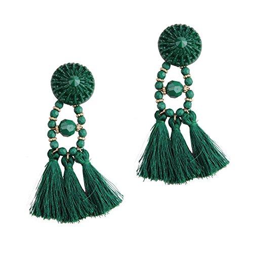 Qinlee Damen Ohrringe Retro Ethnisch Stil Ohrstecker Bunt Quasten Anhänger Ohrringe Mode Geschenk Elegant Schmuck Mädchen Ohr Nagel Ohrringe Ohr Accessoires Earrings (Grün)