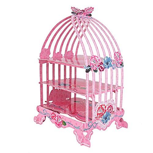 zcsmg 3-Tier-Birdcage geformte Cupcake Display Ständer aus Karton für Hochzeit Party Supplies (Rosa rose)