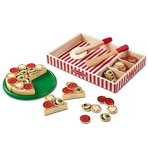 Melissa & Doug Pizza Party Wooden Play Food (Pretend Play Pizza Set, Self-Sticking Tabs, 54+ Pieces)