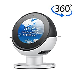 360 Degree Rotating Echo Spot Stand Mount,luxacury Echo Accessories Protective Strong Magnetic Base For Echo Spot Bracket With Smooth Precision Ball Bearings Premium Aluminum Silver -Luxacury