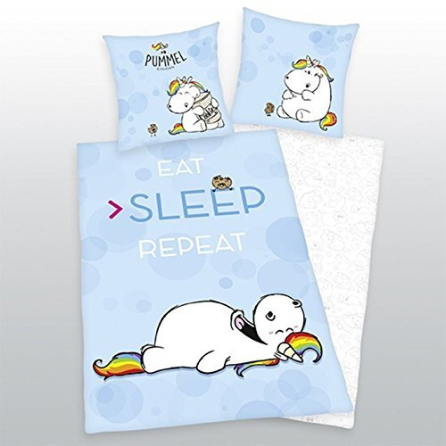 Bettwäsche Pummeleinhorn glatt Fotodruck Sleep Repeat Kekse 135 x 200 cm Geschenk NEU WOW - All-In-One-Outlet-24 -