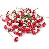 100pcs Setas en Miniatura Espuma Accesorio Decorativo para Paisaje de Jardín Casa de Muñecas (rojo)