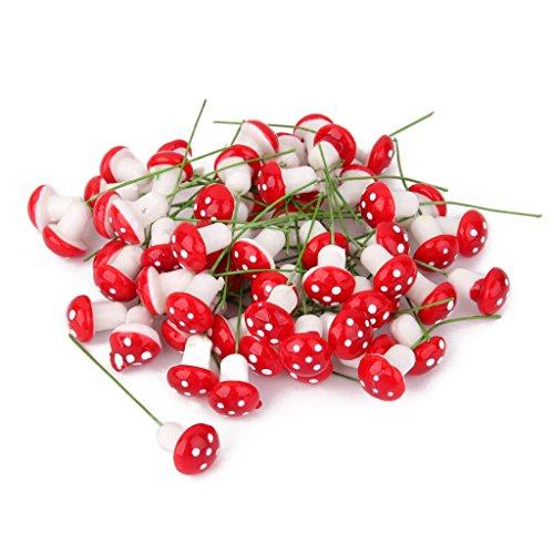 100pz In Miniatura Casa Delle Bambole Fata Giardino Schiuma Paesaggio Fungo Rosso