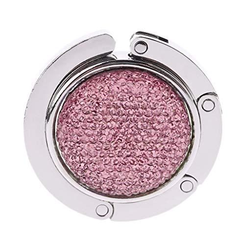 KINTRADE Pink Runde Flash Drill Tasche Falten Handtasche Aufhänger Tasche Brieftasche Rack Halterung Handtasche Haken Tisch Seitentasche Haken (Flash Tisch)